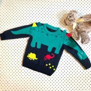 Boys size 2-3 NUTMEG (UK Brand) 100% cotton Dinosaur Jumper, Navy Green Knitted